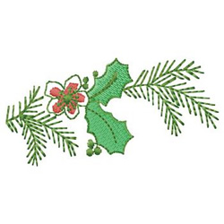 Branch With Holly embroidery design
