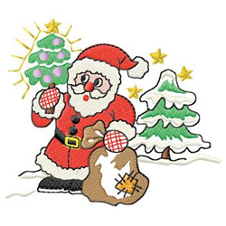 Santa With Trees embroidery design