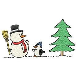 Snowman And Penguin embroidery design