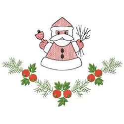 Santa And Holly embroidery design