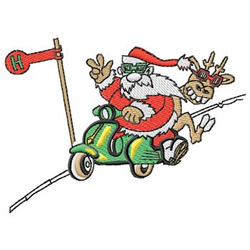 Santa On Scooter embroidery design
