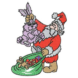 Santa With Bunny embroidery design