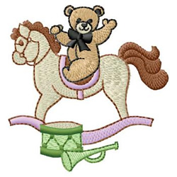 Bear On Horse embroidery design
