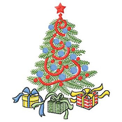 Tree With Presents embroidery design