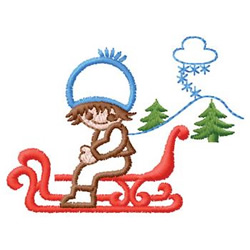 Kid On Sled embroidery design