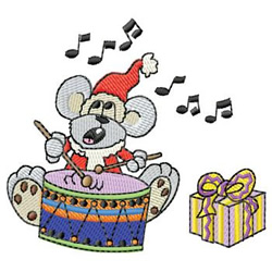 Mouse With Drum embroidery design