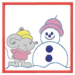 Mouse Making Snowman embroidery design