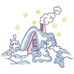 House With Snow embroidery design