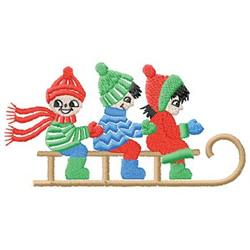 Children Sledding embroidery design