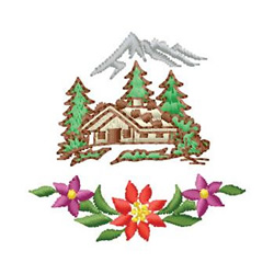 Cabin With Poinsettia embroidery design