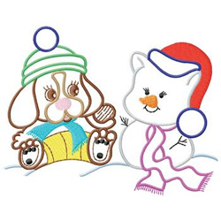 Dog With Snowman embroidery design