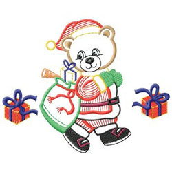 Bear With Gifts embroidery design