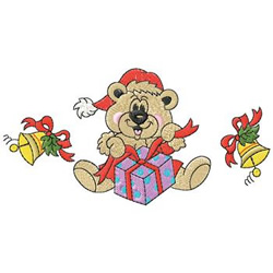 Bear With Presents embroidery design