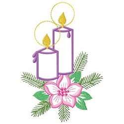 Candle And Poinsettia embroidery design