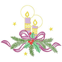 Candles & Pine embroidery design