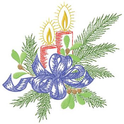 Candles With Ribbon embroidery design
