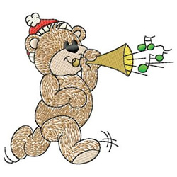 Bear Blowing Horn embroidery design