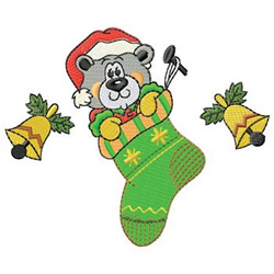 Bear In Stocking embroidery design