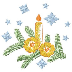 Candle And Flowers embroidery design