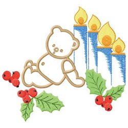 Bear With Candles embroidery design
