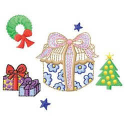 Presents And Wreath embroidery design