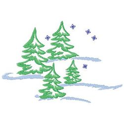 Trees With Snow embroidery design
