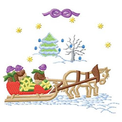 Sleigh Scene embroidery design