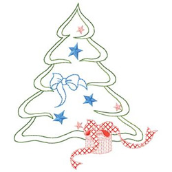 Tree With Present embroidery design