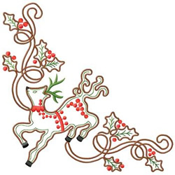 Reindeer With Holly embroidery design