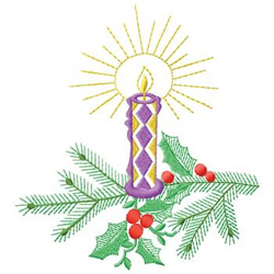 Candle With Holly embroidery design