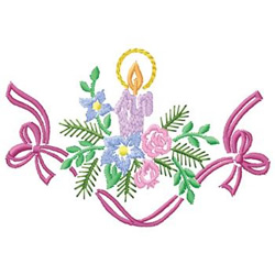 Candle And Ribbon embroidery design