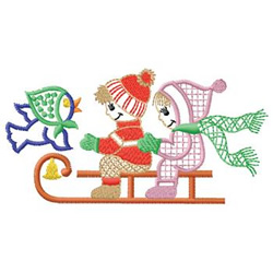 Children On Sled embroidery design