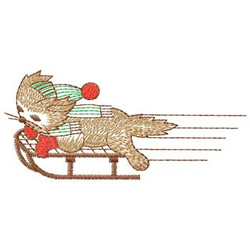 Cat On Sled embroidery design