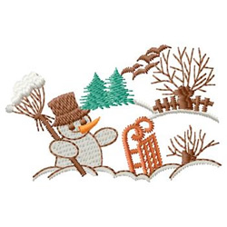 Snowman Scene embroidery design