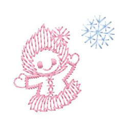 Girl And Snowflake embroidery design