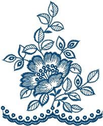 Blue Flower Decoration embroidery design
