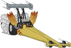 Flaming Dragster embroidery design