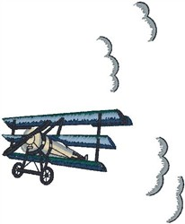 Triplane in Clouds2 embroidery design