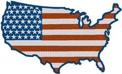 USA map flag embroidery design