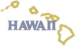 Hawaii Labeled embroidery design