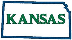 Kansas Labeled embroidery design