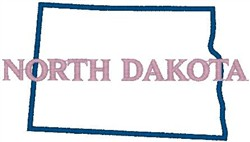 North Dakota Labeled embroidery design