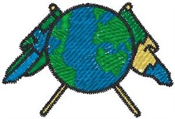 Globe and Flag embroidery design