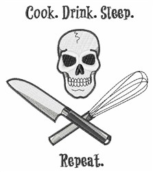Skull Cook Saying embroidery design