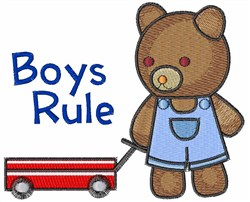 Boys Rule Bear embroidery design