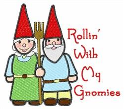 Rollin Gnomes embroidery design