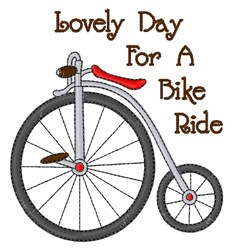 Lovely Day to Bike embroidery design