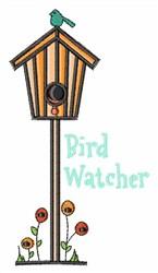 Birdhouse Bird Watcher embroidery design
