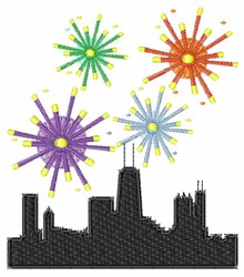Fireworks Over Chicago embroidery design