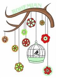 Bohemian Bird embroidery design